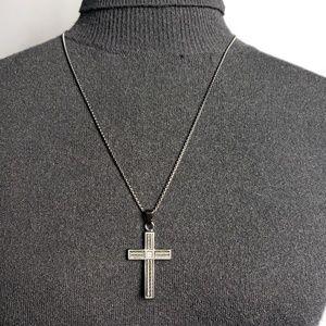 Men's Black Stainless Steel Cross Pendant Necklace